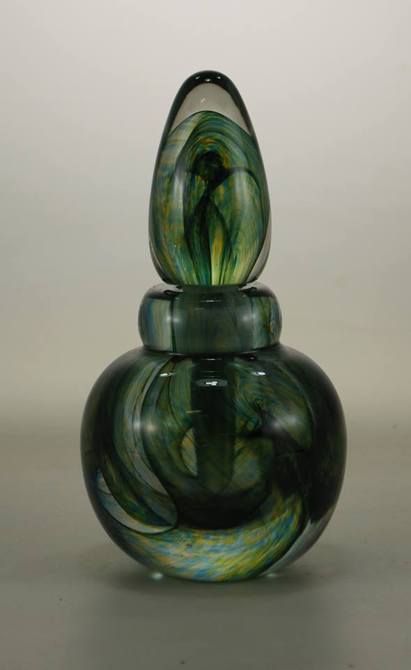 Green Swirl Glass Perfume Bottle
